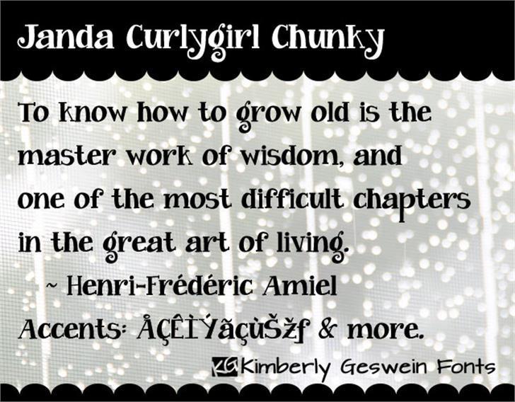 Janda Curlygirl Chunky Font screenshot font
