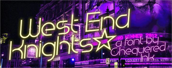 West End Knights Font purple neon