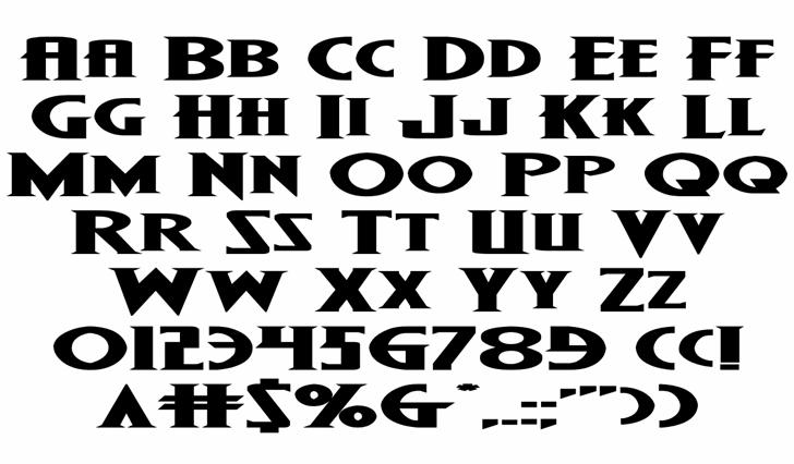 Wolf's Bane II Super-Expand Font Letters Charmap