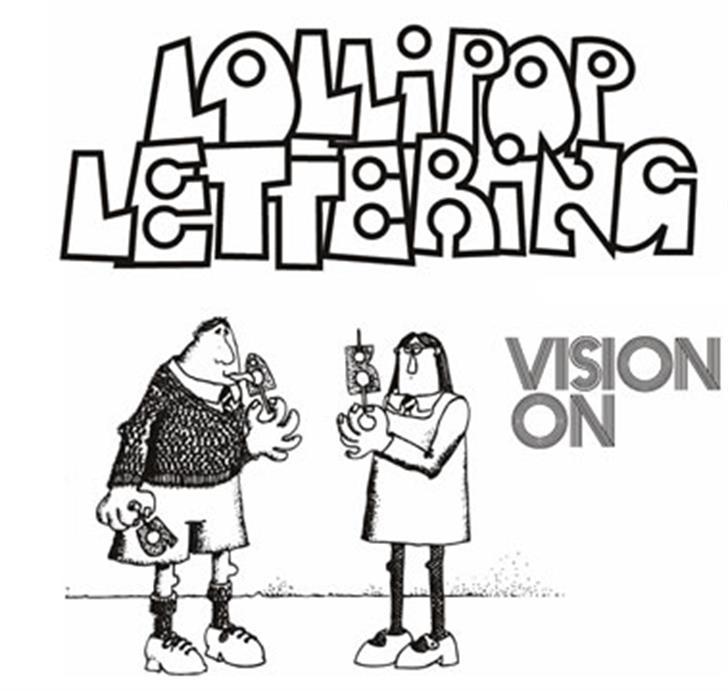 Lollipop Lettering Font cartoon drawing