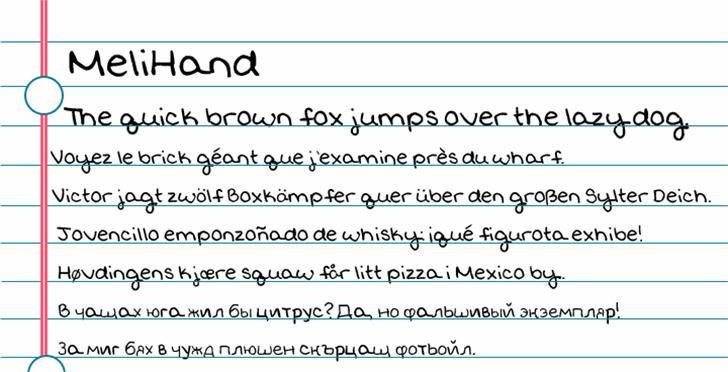 MeliHand Font text screenshot