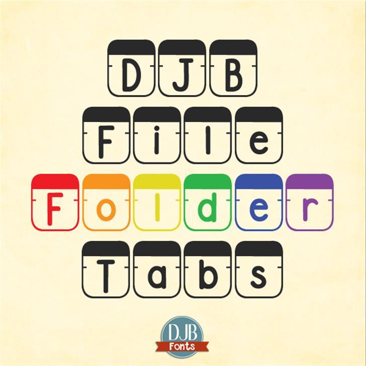 DJB File Folder Tabs Font design poster