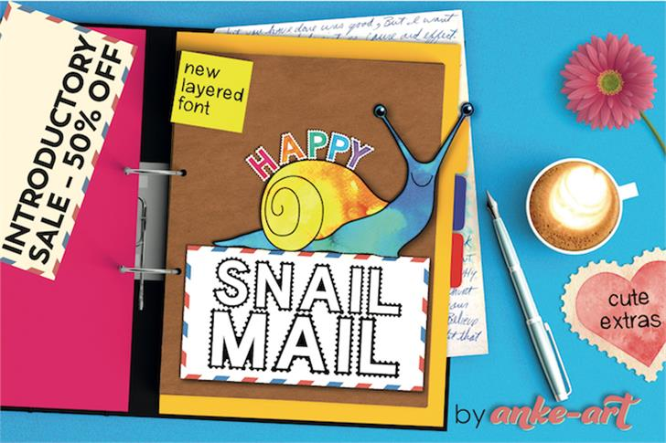 Happy Snail Mail DEMO Font cartoon handwriting