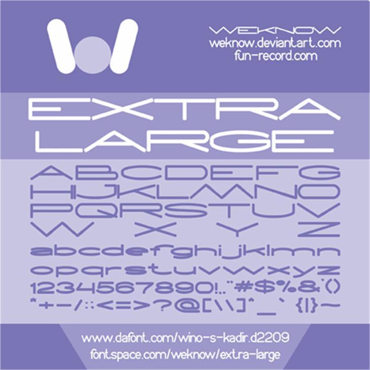EXTRA LARGE Font design screenshot