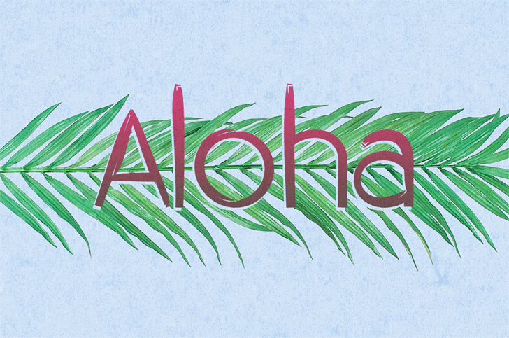 Aloha Font drawing sketch