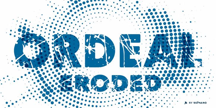 Ordeal Eroded Font design illustration