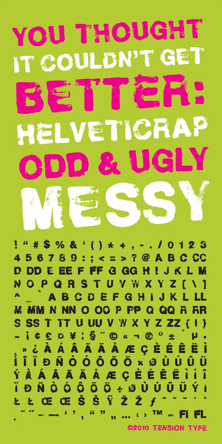 Helveticrap Font poster screenshot