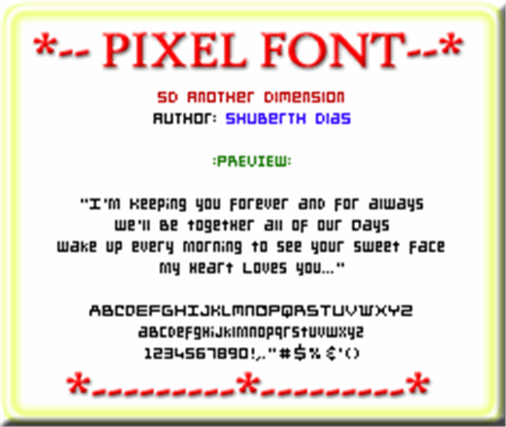 SD Another Dimension Font screenshot font