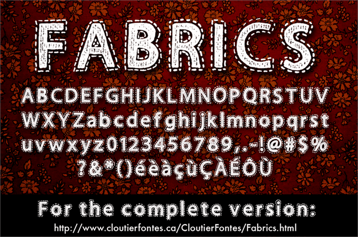 Fabrics Font screenshot poster