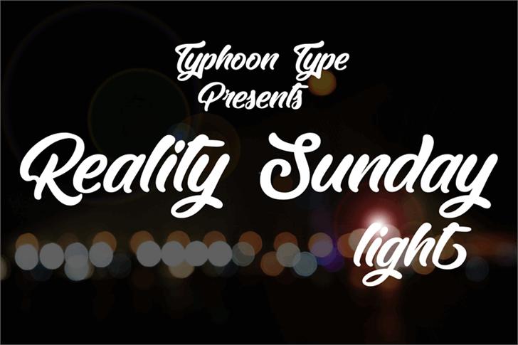 Reality Sunday light Font design text