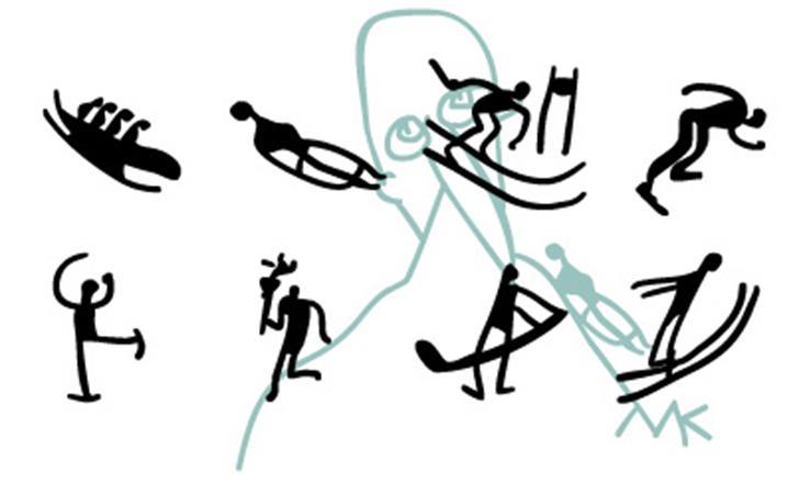 WinterSports Font cartoon drawing