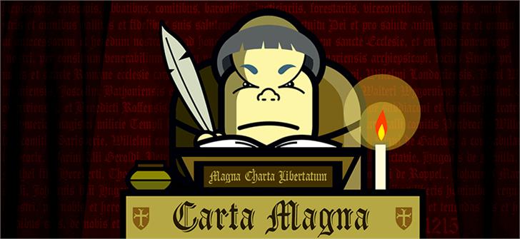 Carta Magna Line Font cartoon poster