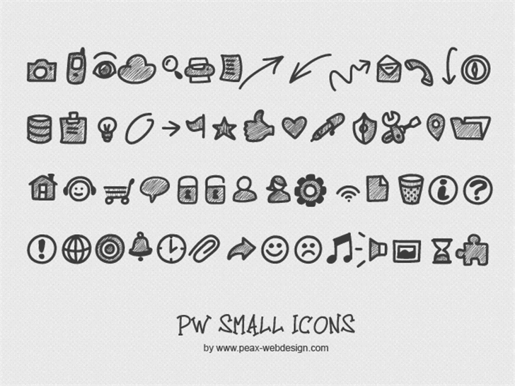 PWSmallIcons Font handwriting text