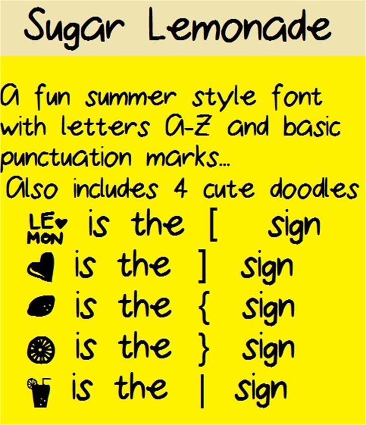 SugarLemonade Font yellow screenshot
