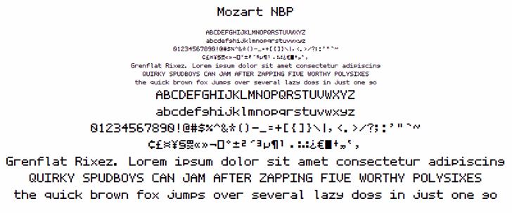Mozart NBP font by total FontGeek DTF, Ltd.
