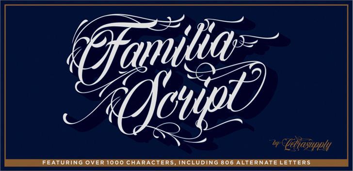 Familia Script Font handwriting typography
