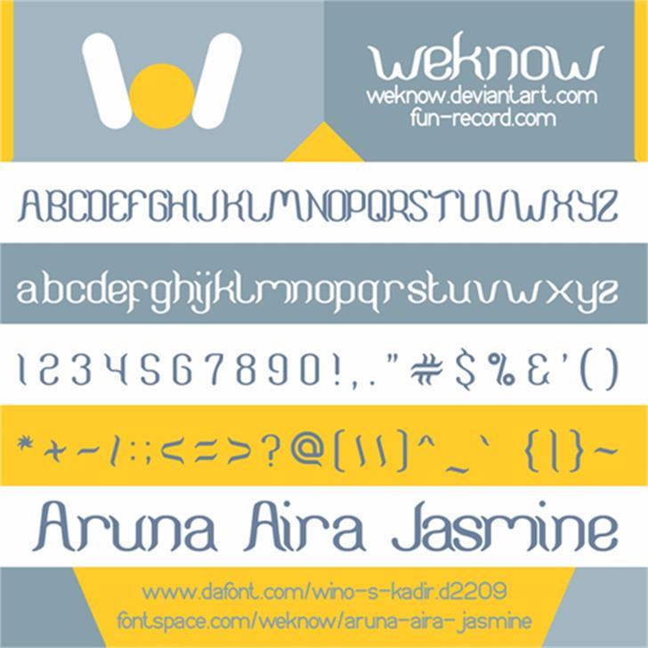 ARUNA AIRA JASMINE Font text screenshot