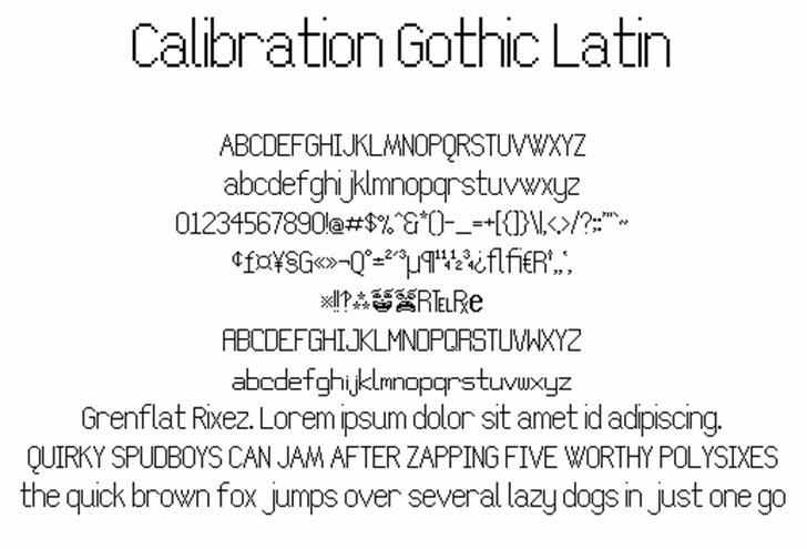 Calibration Gothic NBP Latin font by total FontGeek DTF, Ltd.