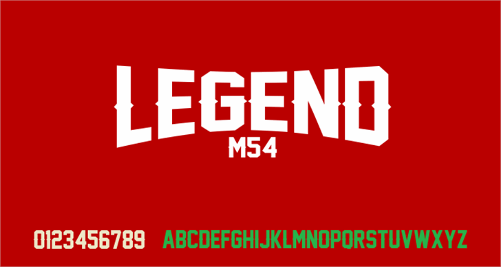 Legend M54 Font design screenshot