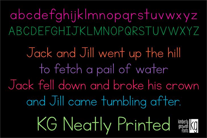KG Neatly Printed Font screenshot text