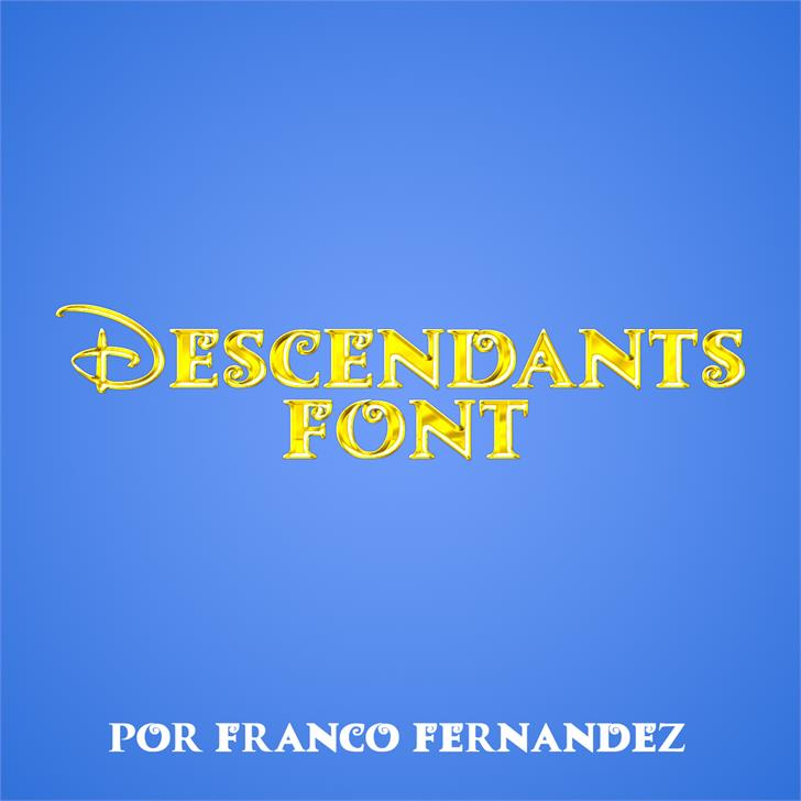 Descendants Font screenshot design
