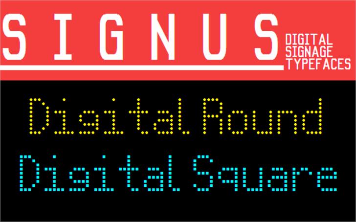 Signus Digital Round NBP Font screenshot design