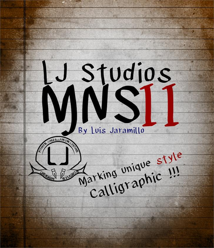 LJ Studios MNS 2 Font handwriting drawing