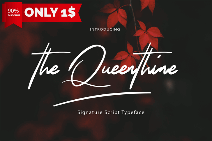 The Queenthine Font design text