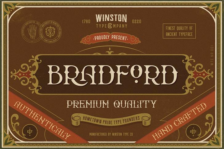 Bradford Font design menu