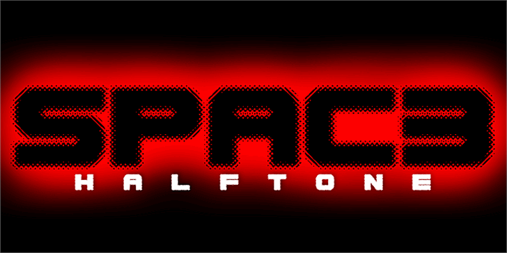 Spac3 halftone font by Qbotype Fonts
