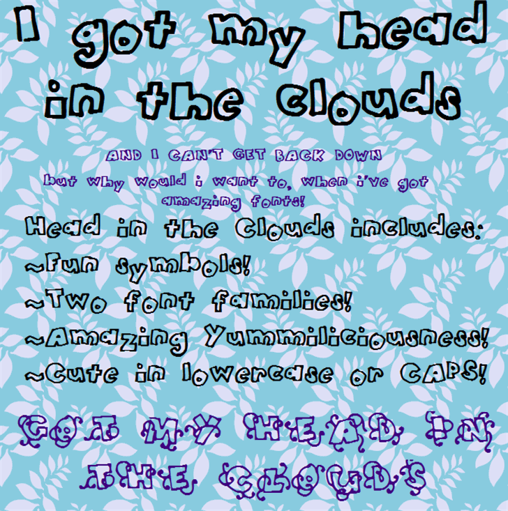 HeadintheClouds Font text screenshot