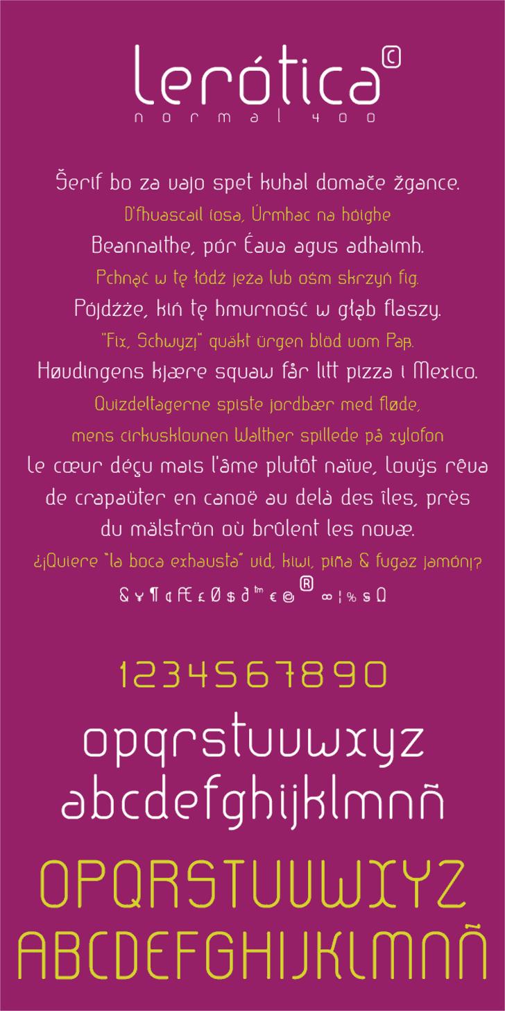 lerotica Font screenshot text