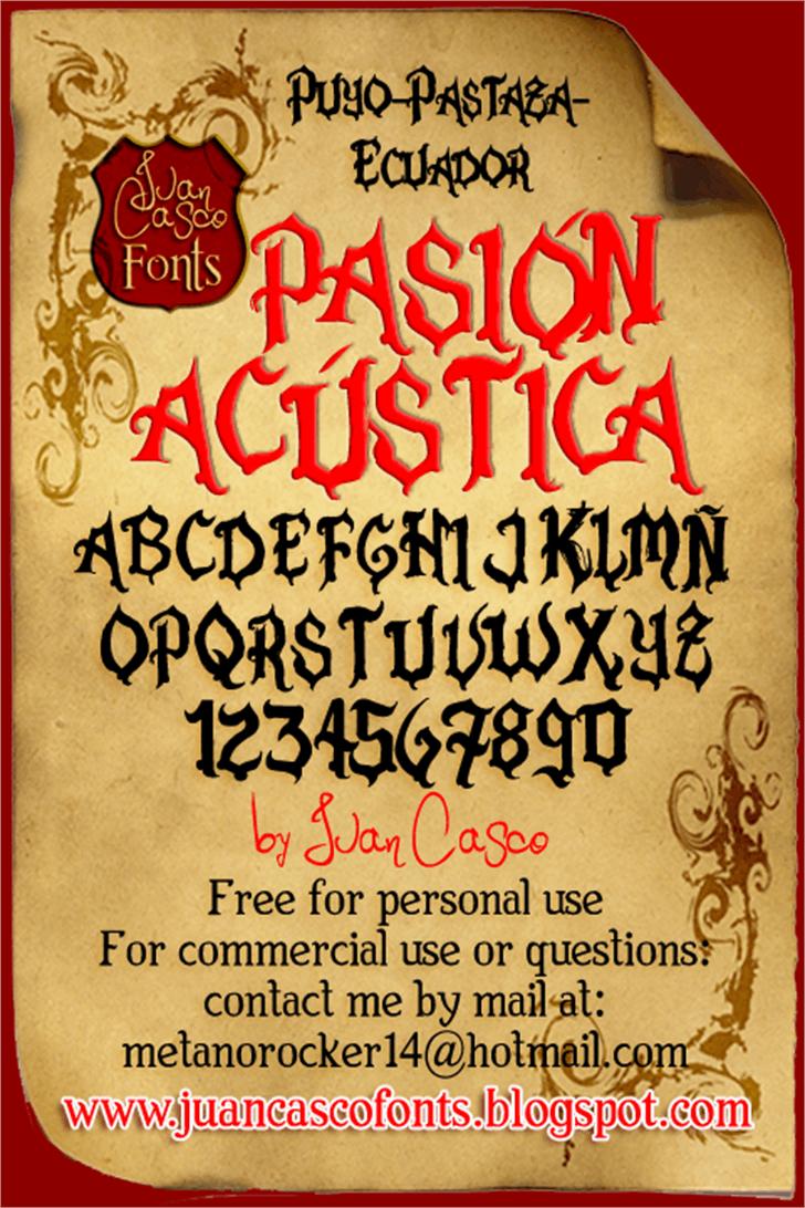 Pasión Acústica Font handwriting poster