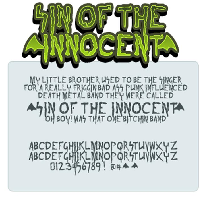 sin of the innoccent Font cartoon design
