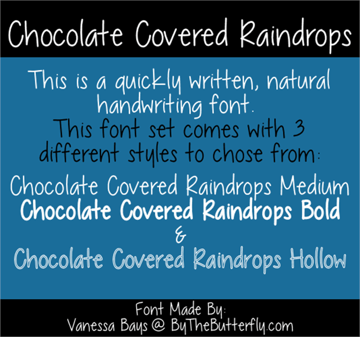 Chocolate Covered Raindrops Font text screenshot
