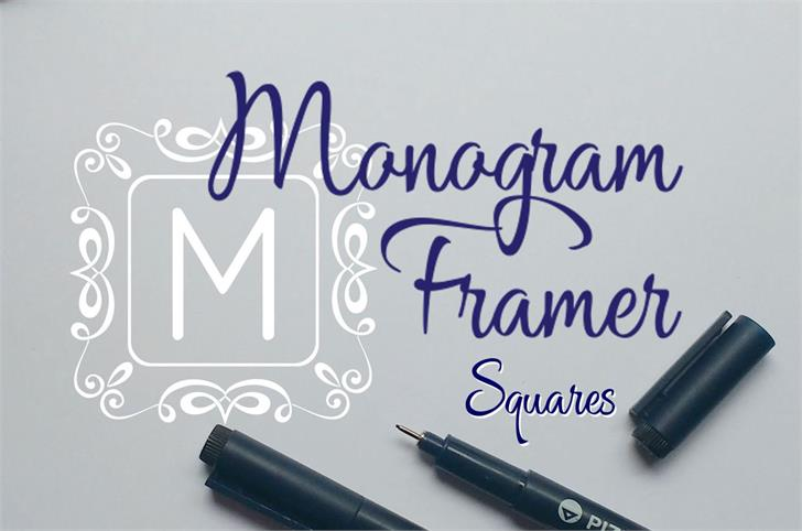 Square Monogram Frames Font handwriting design