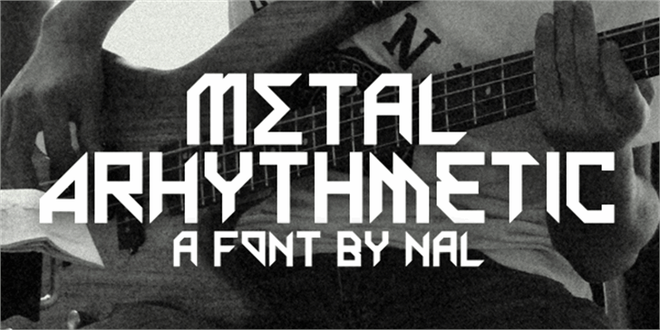 Metal Arhythmetic Font poster design