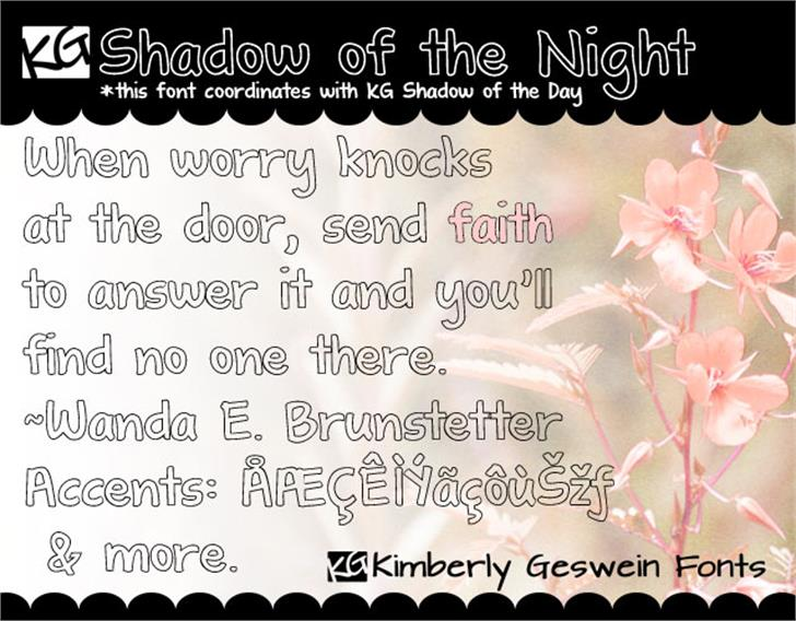 KG Shadow of the Night Font text flower