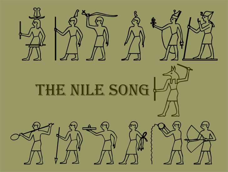 The Nile Song Font drawing cartoon