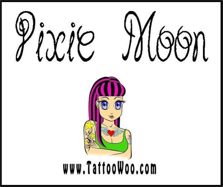 Pixie Moon Font cartoon drawing