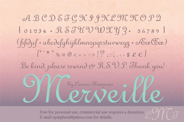 Merveille Font text handwriting