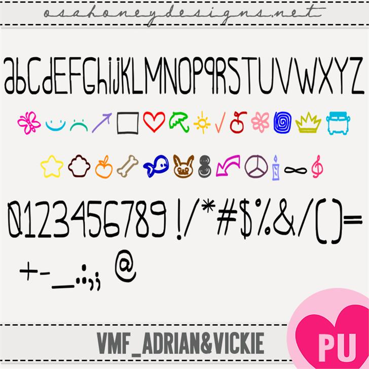 Oh_Adrian&Vickie font by VMF@VickieMartinez