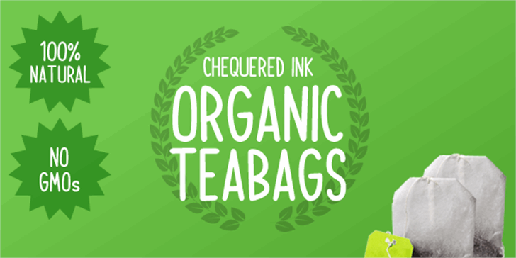 Organic Teabags Font design typography