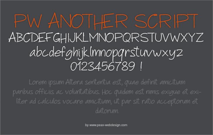 PWAnotherScript Font text design