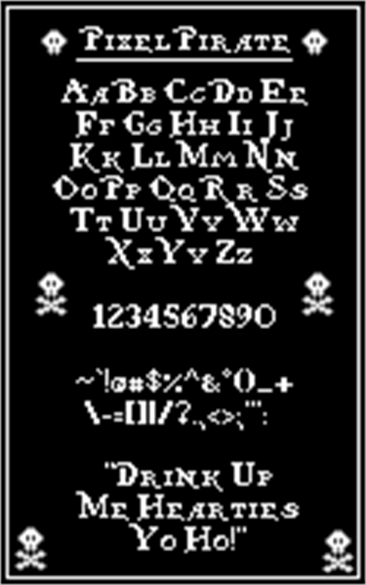 Pixel Pirate font by Sparkletastic