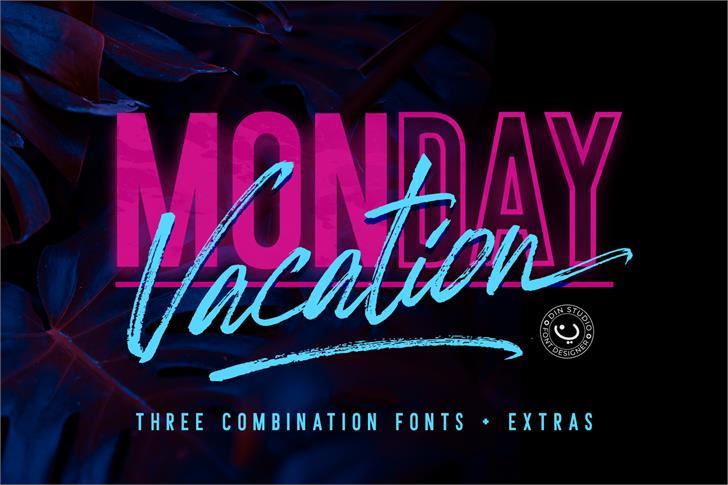 Monday Vacation Italic Script Font poster