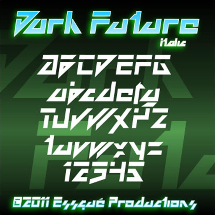 Dark Future Font screenshot design