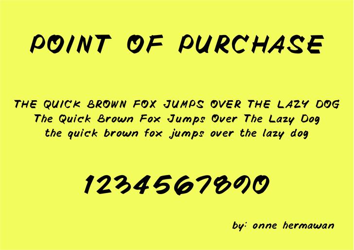 POINTOFPURCHASE Font screenshot handwriting