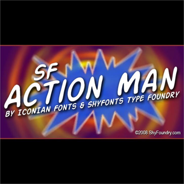 SF Action Man Font screenshot design