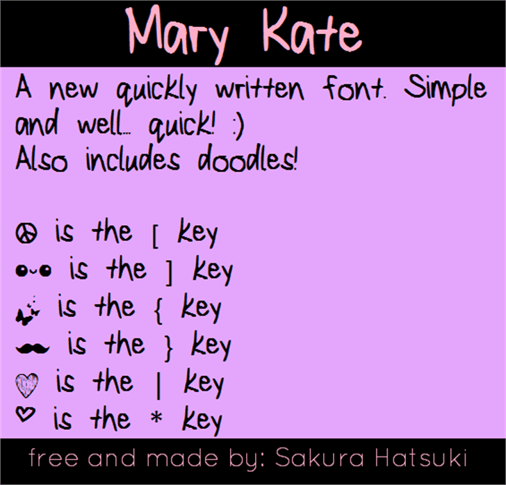 MaryKate Font screenshot handwriting